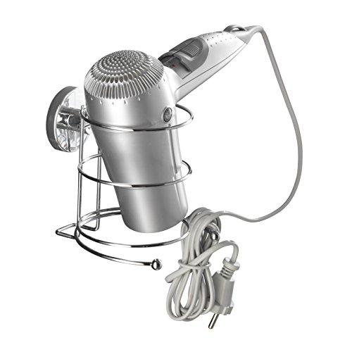 WENKO 20896100 Vacuum-Loc Haartrocknerhalter - Befestigung ohne bohren, Stahl, 13.5 x 13.5 x 13 cm, Chrom