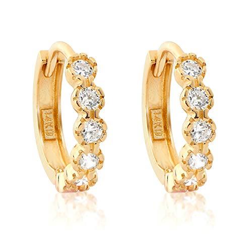 14k YG CZ Huggie Earrings H37 44500