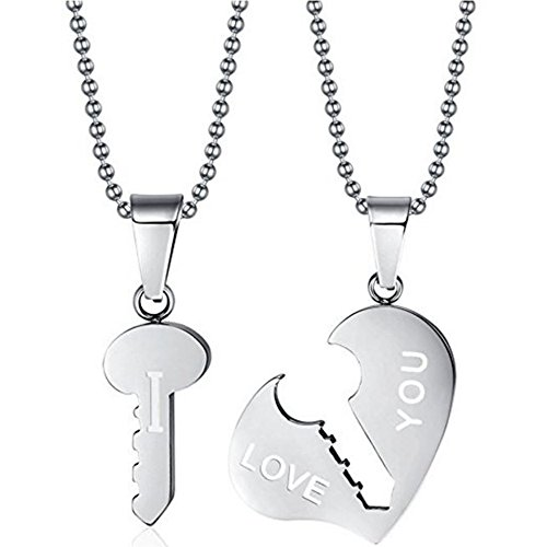 Epic Brand Couples Necklace Stainless Steel Heart and Key I Love You Pendants 20 inch Chain (2 piece (2 Piece Heart Pendant)
