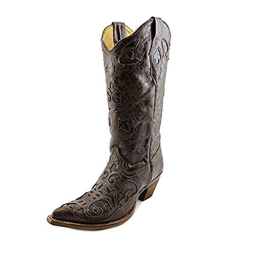 CORRAL Women's Chocolate Lizard Inlay Western Cowgirl Boot Pointed Toe Chocolate 5.5 M (Toe Boots Chocolate)