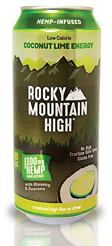 Rocky Mountain High 16 Ounce Low Calorie Hemp Infused Coconut Lime Energy Drink  24 Pack
