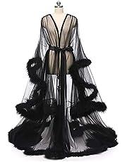 Verenkleed, Dames Sexy Mesh Kamerjas Badjas, Lange Verenkleed Feest Nachtkleding, Kanten Mesh Perspectief Veer Erotisch Robe Ondergoed