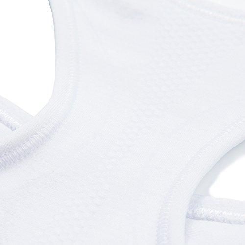 LAPASA Sujetador Deportivo sin Costura para Mujer (Estilo Racerback). Para Yoga, Estiramiento, Running Ultra White (Blanco)