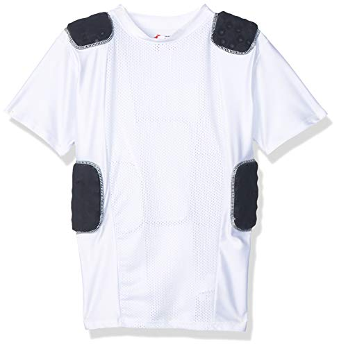 Cramer Lightning 5 Pad Youth Football Shirt with Integrated Rib, Spine and Clavicle Pads, Youth Football Padded Compression Shirt, Rib Protector Shirt, Padded Basketball Shirt, White, Youth Medium