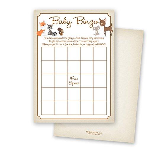 MyExpression.com 24 Cnt Woodland Animals Baby Shower Bingo Cards