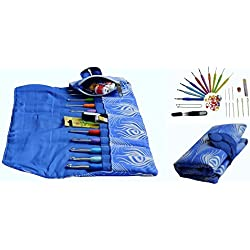 Excellent Crochet Hook KIT w/Our 10 Very Popular Hooks Sizes w/Ergonomic Handles for Exceptional Comfort, Ultra Premium & Most Loved Fabric Needle Case Organizer w/Zipped Pocket All You Need-in-ONE