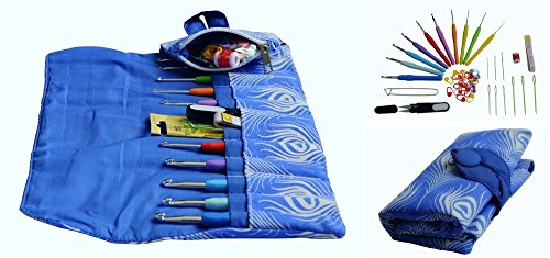 EXCELLENT CROCHET HOOK KIT w/ our 10 VERY POPULAR Hooks Sizes w/ Ergonomic Handles for EXCEPTIONAL COMFORT, ULTRA PREMIUM & MOST LOVED FABRIC Needle Case Organizer w/ Zipped Pocket ALL YOU NEED-IN-ONE by Athena's Elements