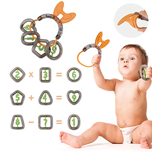 TUMAMA Baby Rattles Toys, Infant Teether Rattle Set Numbers Type with Shaking Sound Early Education Development Toys for Baby Infant Toddler Kids for 0, 3, 6, 9, 12 Month, Pack of 10