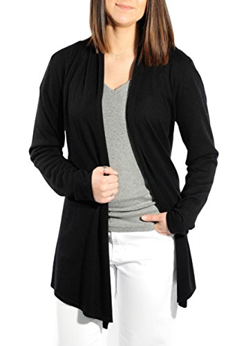 Gigi Reaume 100% Cashmere Women's Sweater, Open Front Long Cardigan, Swing Style, Ultra Lightweight (Medium, Black) Cashmere Summer Cardigan