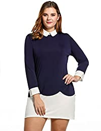 Meaneor Women Plus Sizes Doll Collar Long Sleeve Patchwork A-Line Shift Dress