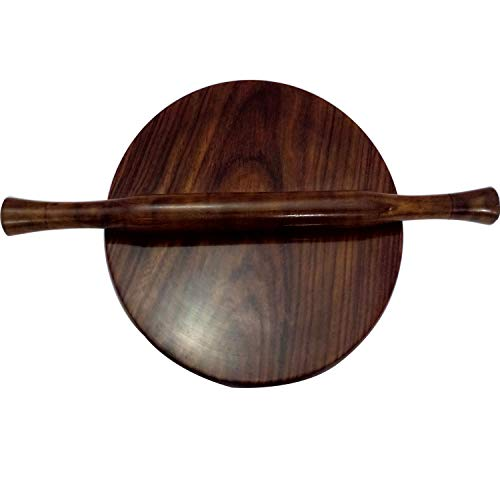 Wooden Circular Board Wooden Chakla Chapati Maker Chakla Roti Maker Chakla Belan/Polpat Rolling Board Serving Board Round Roti Maker with Rolling Pin Kitchen Useful Tool Kitchen Accessory