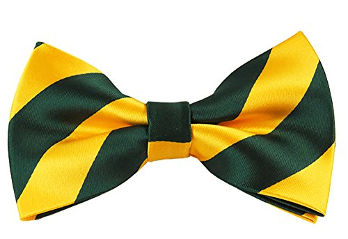 Vincent Apparel Collegiate Stripe Pre-Tied Bow Ties (Multiple Colors) (Forest Green and - And Green Gold Store