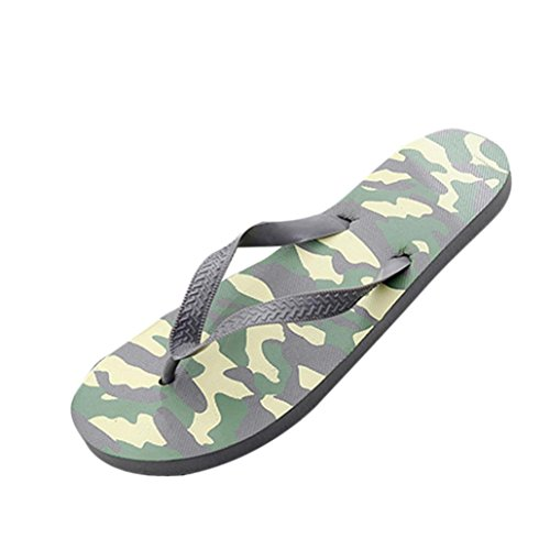 (Outsta Summer Men & Women Camouflage Anti-Skidding Sandals Flip-Flop Slipper Beach Shoes (Gray, US:9))