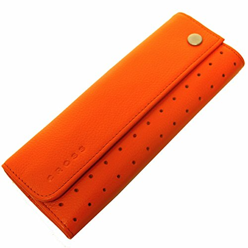 Cross Orange Pebbled Genuine Italian Leather Double Pouch Pen Case Cross Double Pen Pouch