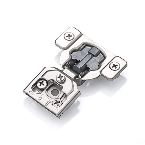 Luokim 40pcs Soft-Close Face Frame Hinges with Built-in Damper,1/2'' Overlay,Cabinet Concealed Hinges,Nickel ()