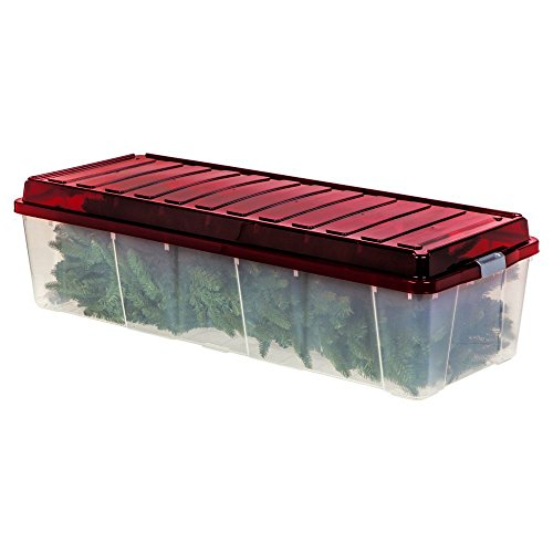 Artificial Tree Storage Box. Container For Xmas Fake Tree Or Holiday Items, Durable Plastic Box Protect Contents From Damp, Odors, Dirt, Dust, Pests. Case To Neatly Organized And Space Saver.