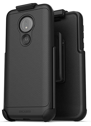 Encased Moto G7 Power Belt Clip Case (Thin Armor) Slim Grip Cover with Holster for Motorola G7 Power- Black