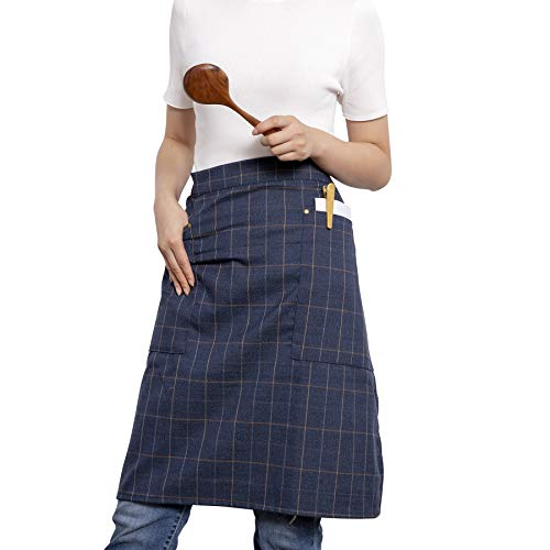 Plaid Half Apron - NEOVIVA Stylish Waist Aprons for Men with Pockets, Lightweight Chef Apron for Women Plus Size Half Apron for Cooking, Baking, BBQ and Serving, Style Jeff, Plaid Brunet Blue