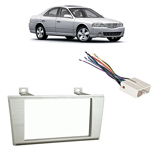 Fits Lincoln LS Series 2004-2006 Double DIN Harness Radio Dash Kit - Silver (2006 Lincoln Ls Dash)