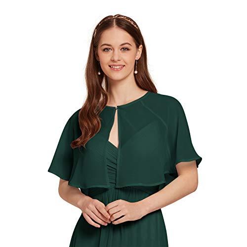 - AW Women's Chiffon Cardigan Shrug Cover Up Wedding Cape Wrap Shawl Bolero Jacket for Bride, Dark Emerald, L