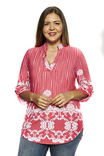 Betsy Red Couture Women's Plus Size Notch Neck Tunic Top ()