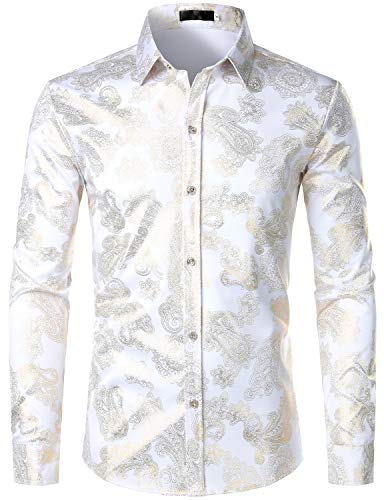 (ZEROYAA Mens Hipster Paisley Shirt Luxury Design Slim Fit Long Sleeve Button Down Shirts Party Costume ZZCL40 White X-Large )