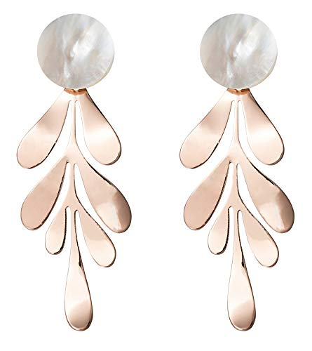 Rose Gold Leaf Dangle Earrings for Women Fashion Statement White Shell Hanging Bridal Elegant Charming Paua Drop Earrings for Girls Idea Gifts For Mom Sister and Friends -