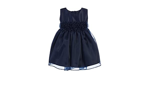 eb6a27286 Amazon.com  Sweet Kids Baby Girls Navy Satin Organza Flower Adorned ...
