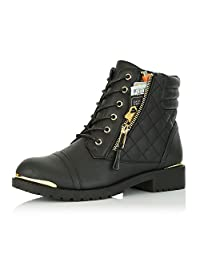DailyShoes Women's Military Up Buckle Combat Boots Ankle High Exclusive Credit Card Pocket