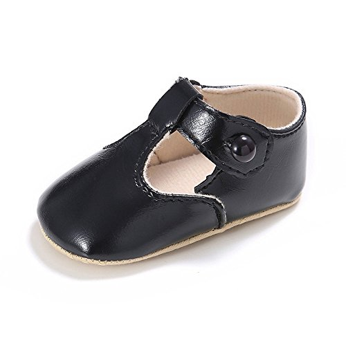 Enteer Baby Girls' Retro Leather Button Mary Jane Shoes Black US 4 (Girls Black Shoes Mary Jane)