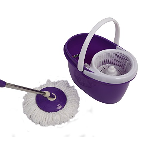 Easy Magic Floor Mop 360° Bucket 2 Heads Microfiber Spin Spinning Rotating Head (Purple) by Sustainables (Image #6)
