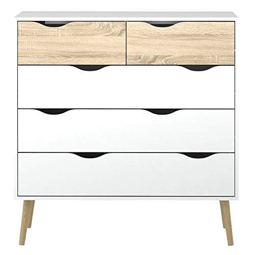 Tvilum 7545649ak Diana 5 Drawer Chest, White/Oak