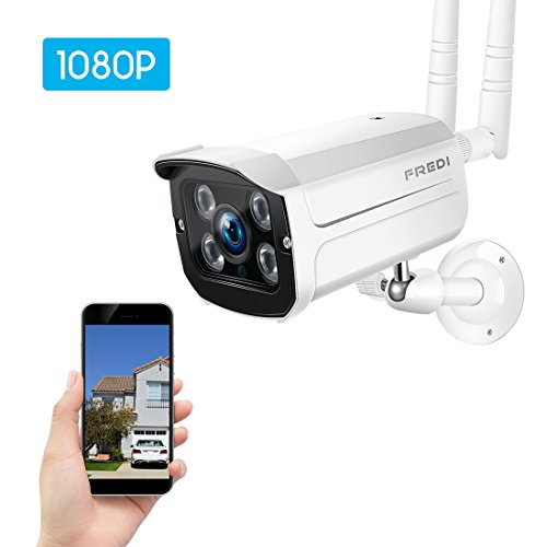 FREDI Wireless Security Camera System,1080p WiFi Wireless IP Bullet Camera WiFi Surveillance Camera Outdoor(Weatherproof)
