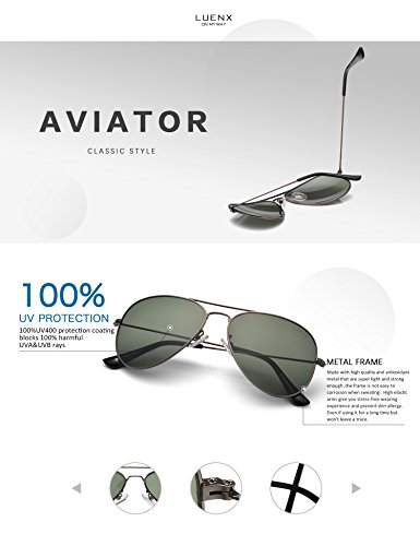 1c7fad984e0 LUENX Men Women Aviator Sunglasses Grey Green Polarized Lens Gun Metal  Frame Non-Mirror 60MM