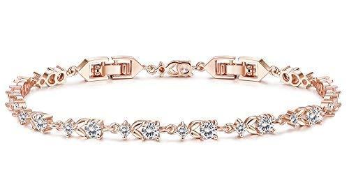 Finrezio Rose-Gold Plated CZ Tennis Bracelets for Women Bridal Wedding Jewelry Bracelet Adjustable (B: Rose-Gold-Tone)