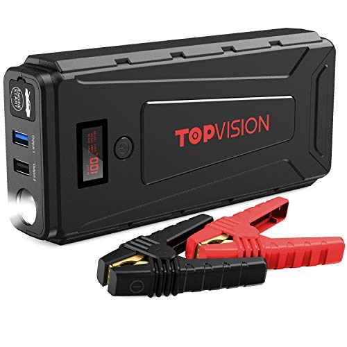Battery Starter for Car, TOPVISION 2200A Peak 20800mAh Portable Car Power Pack with USB Quick Charge 3.0 (Up to 7.0L Gas or 6.5L Diesel Engine), 12V Portable Auto Battery Booster