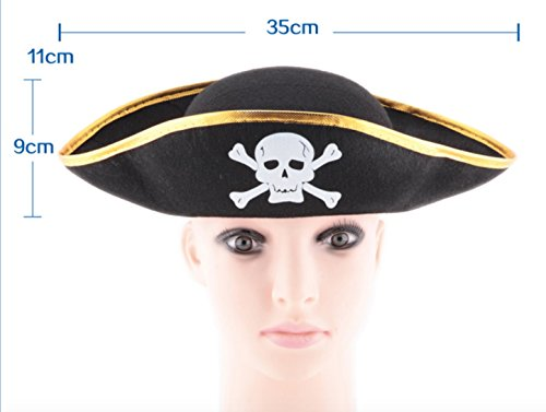 [OliaDesign Kids Boys Girls Pirate Halloween Costume Felt Hat with Skull and Crossbones, Black] (Pirates Kids Costumes)