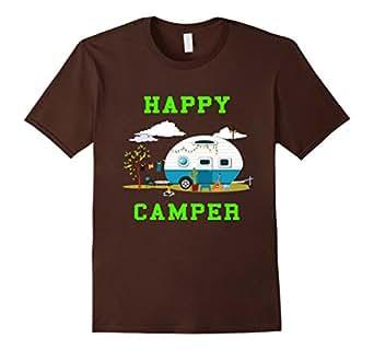 Mens Happy Camper Camping T-Shirt 2XL Brown