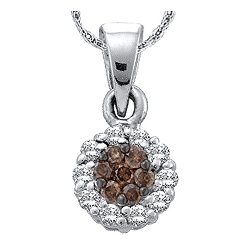 Roy Rose Jewelry 14k White Gold Cognac-brown Color Enhanced Flower Cluster Diamond Womens Pendant 1/4-Carat tw ()