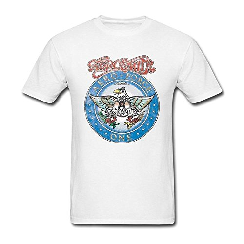 Banosin Men's White Leisure Hot Young Aerosmith Aero Force Cotton T-Shirts ()