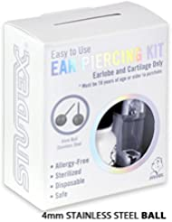 Personal at Home Ear Piercing Kit w/Gun & 4mm Stainless...