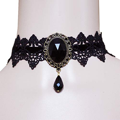 Prettie Choker Necklace for Women Gothic Black Lace Necklace for Halloween Punk Steampunk Costume Party Retro Lolita Victorian Choker Halloween Vampire Pendant Chain