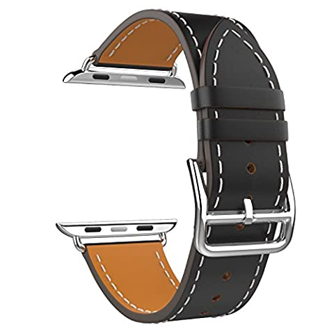 MoKo Band for Apple Watch Series 1 Series 2, Luxury Genuine Leather Smart Watch Band Strap Single Tour Replacement for 42mm Apple Watch Models, BLACK (Not Fit 38mm