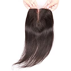 Beata Hair Middle Part Closure Straight - Natural-looking Lace Closure with Baby Hair, 4x4inch Medium Brown Swiss Lace, 130% Density Natural Black Human Hair (10inch)