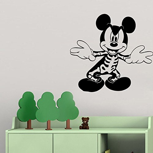 Halloween Vinyl Wall Decals Mickey Mouse Skeleton Costume Decor Stickers Vinyl Mural MK5710]()