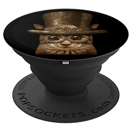 Vintage Style Steampunk Cat Clock Gears Goth Men Women Gift PopSockets Grip and Stand for Phones and Tablets]()