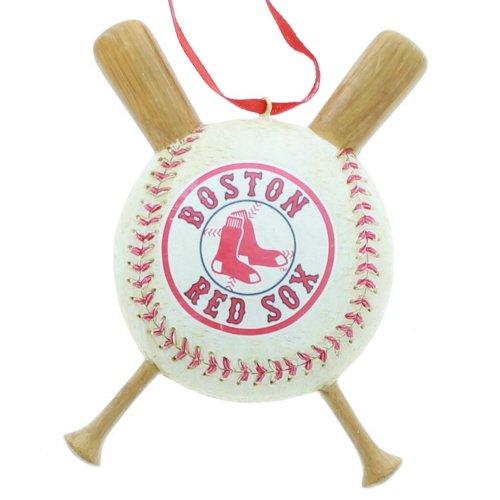 (Boston Red Sox Baseball and Crossed Bats Christmas Ornament Decoration MLB)