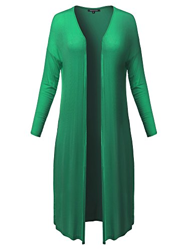 Green Ribbed Kelly (Made by Emma Casual Summer Drop Shoulder High Side Slit Light Weight Duster Long Cardigan S)