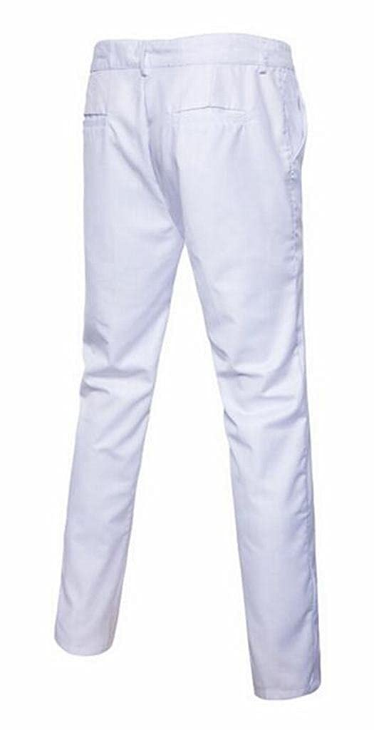 Heless-Men Casual Business Solid Slim Straight Fit Flat-Front Dress Work Pants