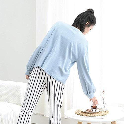 Moda Anchas Cuello Para Mujer Otoño Pantalones Conjunto Manga Larga De Flecos Mujeres El Redondo Impresión Informales Primavera Dormir Pijamas Ropa Pijama Hogar Blau Clásico xqHw4aCXq